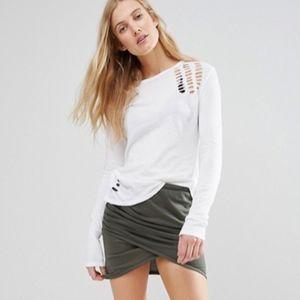 Pam & Gela Long Sleeve Destroyed Tee Shirt Large L